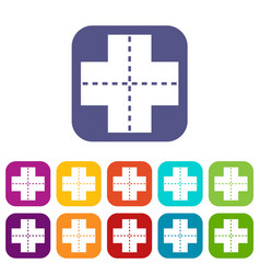 Crossroad icons set flat vector
