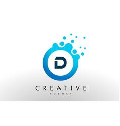 D letter logo blue dots bubble design vector