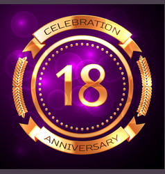 eighteen years anniversary celebration with golden vector image