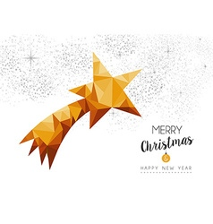 Gold christmas new year star ornament in low poly vector