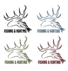 Grunge hunting and fishing vintage emblems set vector