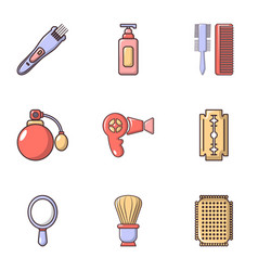Hairdresser tools icons set flat style vector