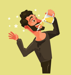 happy man character drinks beer vector image