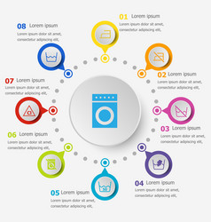 Infographic template with laundry icons vector
