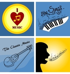 Logo on the theme of music and musical instruments vector