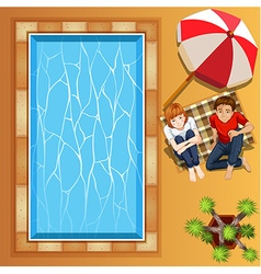 Lover couple sitting by the pool vector image vector image