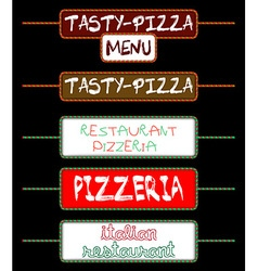 Set of tags for pizzerias vector