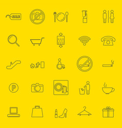 Shopping mall thin line icons vector