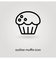 Simple outline muffin icon vector