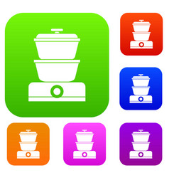 steamer set collection vector image