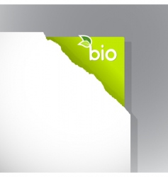 torn paper with bio sign vector image vector image