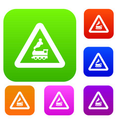warning sign railway crossing without barrier set vector image
