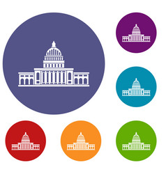 White house icons set vector