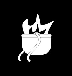 White icon on black background military cauldron vector
