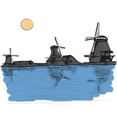 windmills vector image vector image