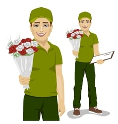 Young man courier holding bouquet of flowers vector
