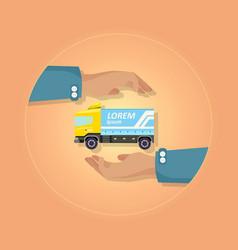 blue large truck with emblem on orange background vector image