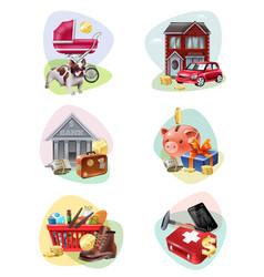 Financial expenses icon set vector