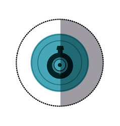 sticker of blue circular frame with video security vector image