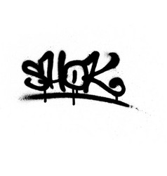 Graffiti tag sprayed with leak in black on white vector