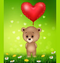 Cartoon little bear holding red shape balloon vector
