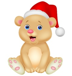 Cute baby bear cartoon sitting vector image