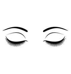 Closed eyes with black eyelashes on a white vector