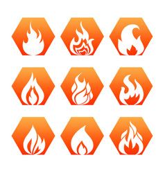 White fire flame on colorful backdrop - fire flame vector
