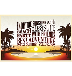 Retro vintage summer poster design with typography vector