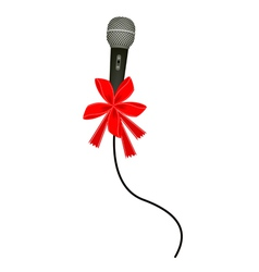 A beautiful modern microphone with red ribbon vector