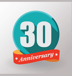 30 anniversary label with ribbon vector