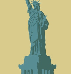 New york the statue of liberty on a light vector