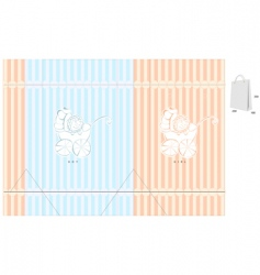 Template for bag with baby vector