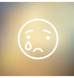 Crying thin line icon vector
