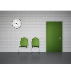 Waiting interior with clock and chairs vector