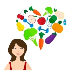 Slender girl fresh fruits and vegetables the vector