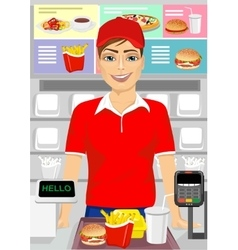 Caucasian male cashier at fast food restaurant vector