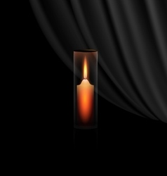 Burning candle in the glass vector