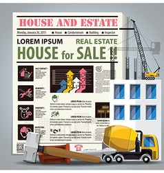 House and estate newspaper lay out with vector