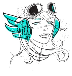 biker girl vector image