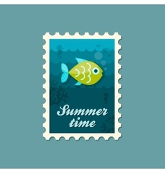 Fish stamp summer vacation vector