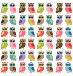 Background with colorful cute owls vector image vector image
