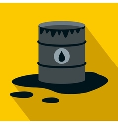 Barrel and oil spill icon flat style vector
