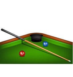 billiard table with billiard cue and billiard ball vector image vector image