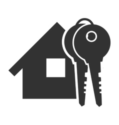 Black home with key icon vector image