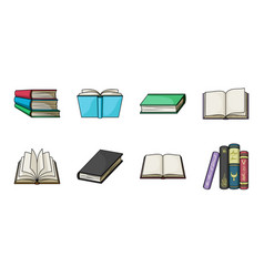 Book in the binding icons in set collection for vector