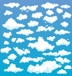 Cartoon Clouds Set On Blue Sky Background Set of vector image vector image