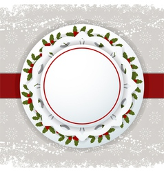 Christmas background label and ribbon vector image vector image