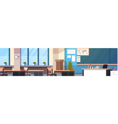 Class room interior horizontal banner empty school vector