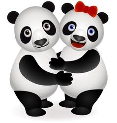 couple panda vector image vector image